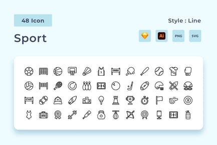 Athletics Outline Style Icon Pack