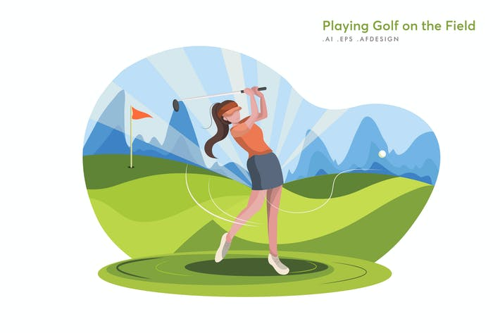 Thumbnail for Playing Golf on the Field Vector Illustration