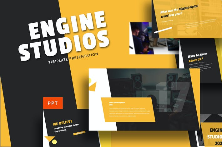 Thumbnail for Engine Studio - Music Powerpoint Template