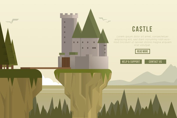Thumbnail for Castle - Vector Landscape & Building