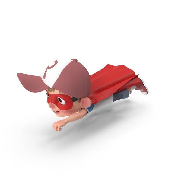 Cartoon Boy Harry Superhero Flying