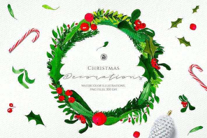 Thumbnail for Акварель Рождественские украшения