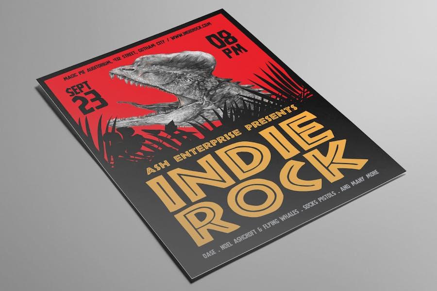 Hand Drawn Dinosaur Indie Rock Flyer