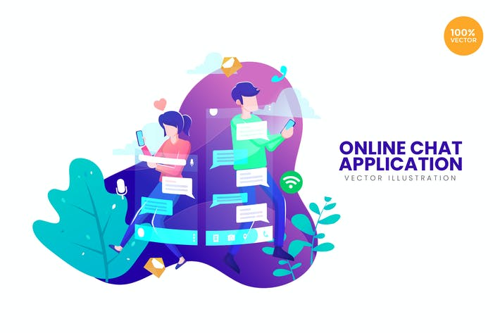 Thumbnail for Online Chat Application Vector Illustration