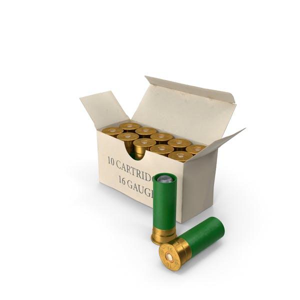 Caja de proyectiles de escopeta calibre 16