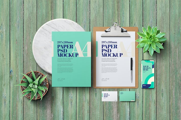 Thumbnail for Stationery Mockup - Green Wooden
