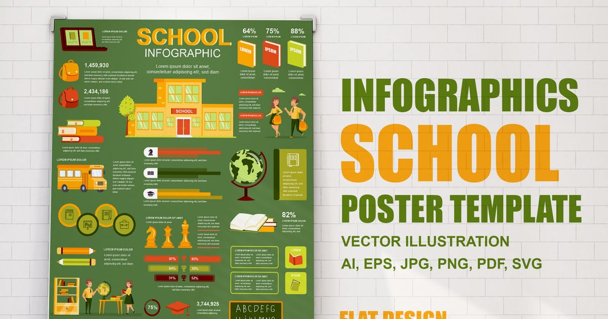 Download School Learning Infographics Poster Template by alexdndz