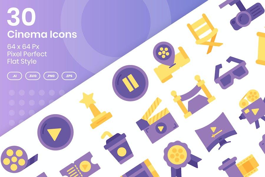 30 Cinema Icons Set - Flat