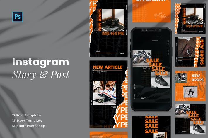 Thumbnail for Urban Neon Instagram Pack Modèle