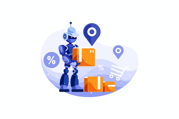 Thumbnail for Robot Delivery Service Vector Illustration