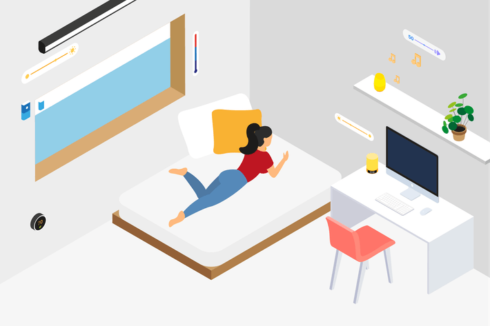 Thumbnail for Smart Home Bedroom Isometric Illustration