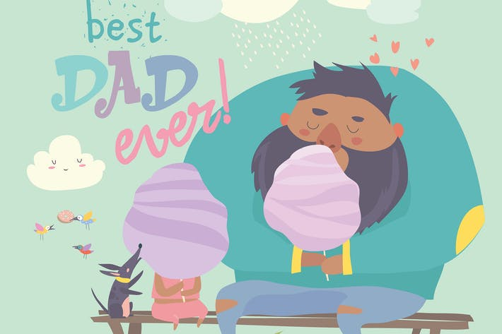Thumbnail for Father with his daughter eating cotton candy. Vect