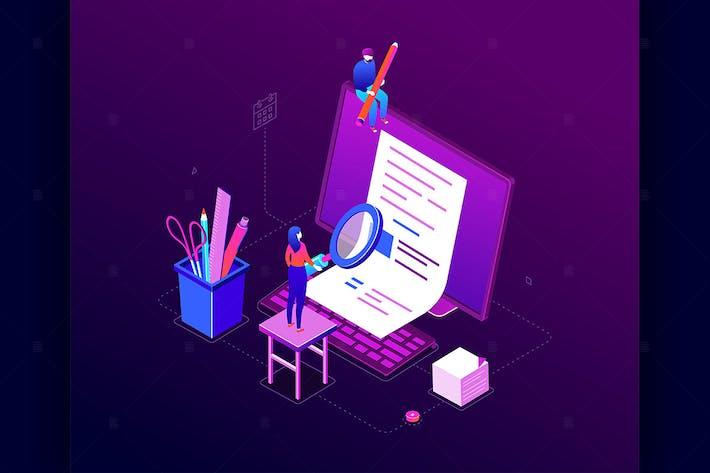 Thumbnail for Copywriting concept - isometric illustration
