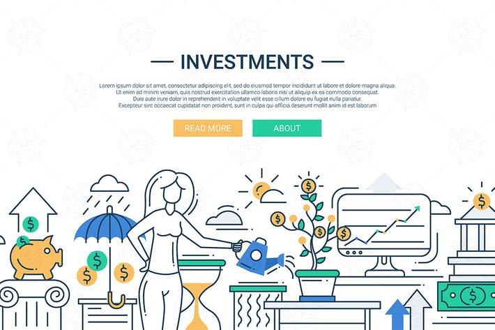 Cover Image For Investments line flat design banner