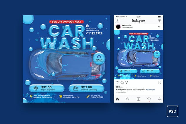 Car Wash Services Square Flyer & Instagram Post