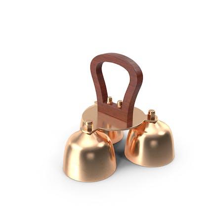 Brass Liturgical Bell 3 Tones Wood Handle