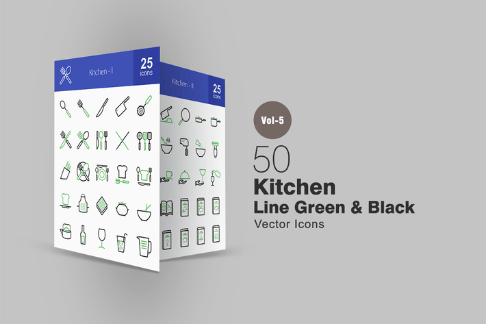 Thumbnail for 50 Kitchen Line Green & Black Icons