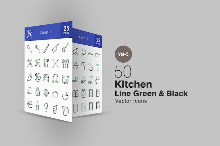 Thumbnail for 50 Kitchen Line Green & Black Icons