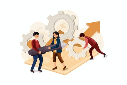 Concepto de equipo de startup y desarrollo de la empresa