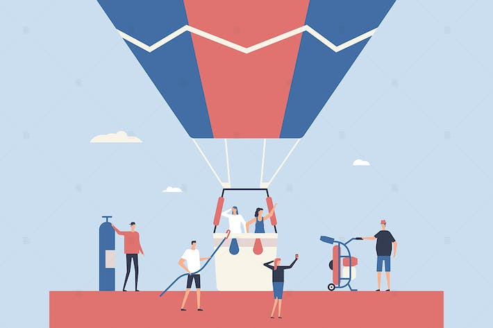 Thumbnail for Hot air balloon trip - flat design illustration
