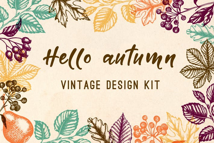 Thumbnail for Vintage Autumn Design Kit