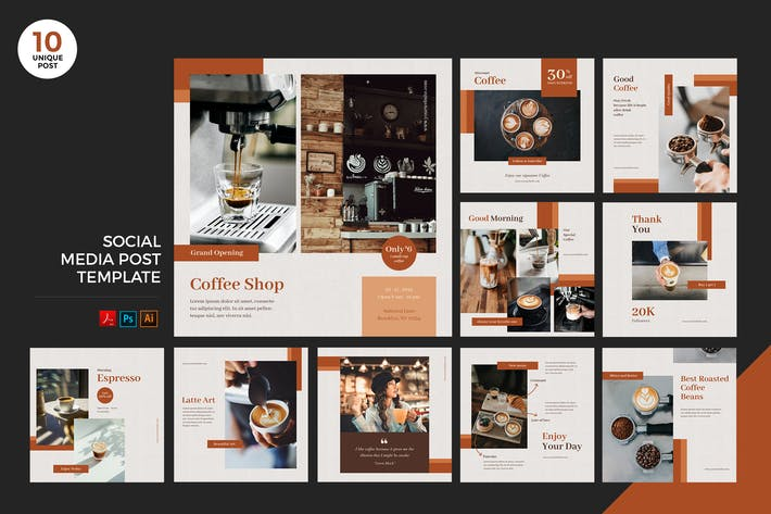 Thumbnail for Coffee Shop Social Media Kit PSD & AI