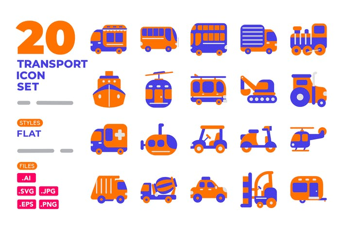 Thumbnail for Transport Icon Set (Flat)