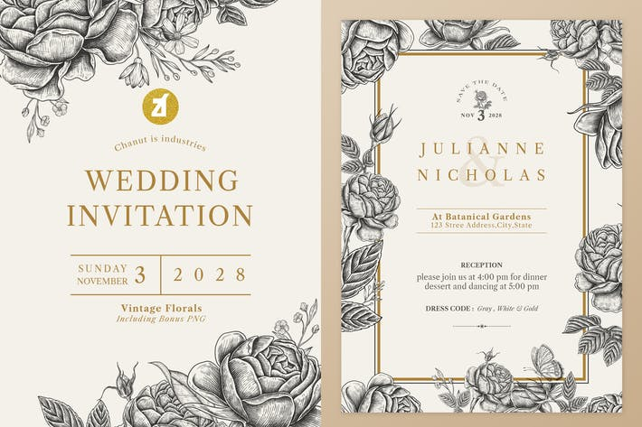 Thumbnail for Floral Vintage Watercolor Wedding Invitation