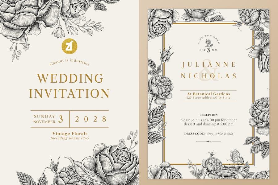 Floral Vintage Watercolor Wedding Invitation