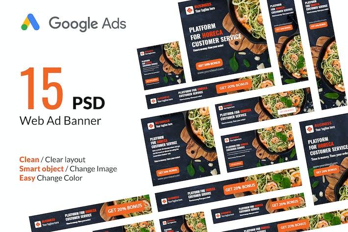 Thumbnail for Food App Google Ads Web Banner - Huen