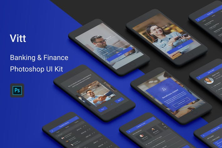 Cover Image For Vitt - Banking & Finance Photoshop UI Kit