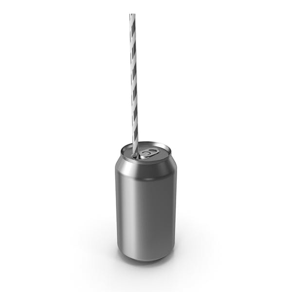 Thumbnail for Silver Soda Can with Drinking Straw