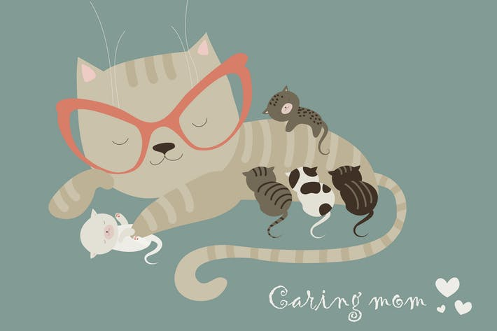 Thumbnail for Cute cat with little kittens. Vector illustration
