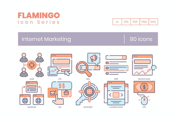 Thumbnail for 80 Internet Marketing Icons | Flamingo Series