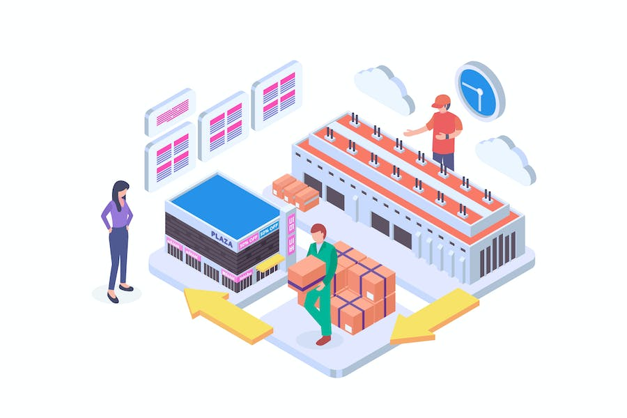 Logistic System Isometric Vector