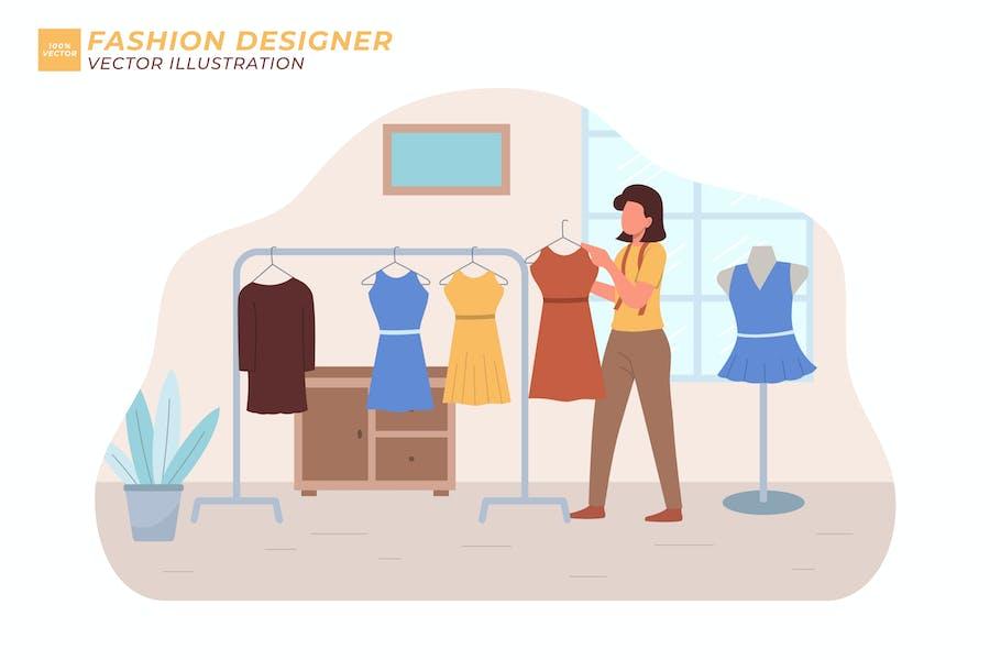 Fashion Designer Flat Illustration