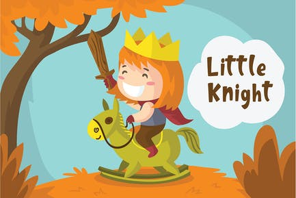 Little Knight - Vector Illustration