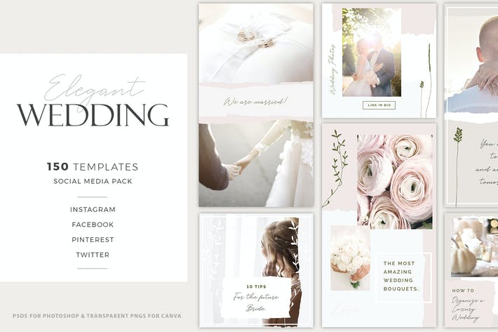 Thumbnail for Elegant Wedding Social Media Pack