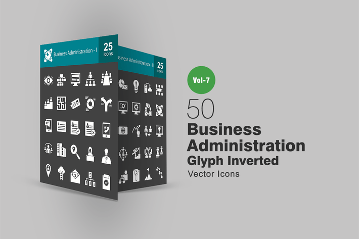 Thumbnail for 50 Business Administration Glyph Inverted Icons