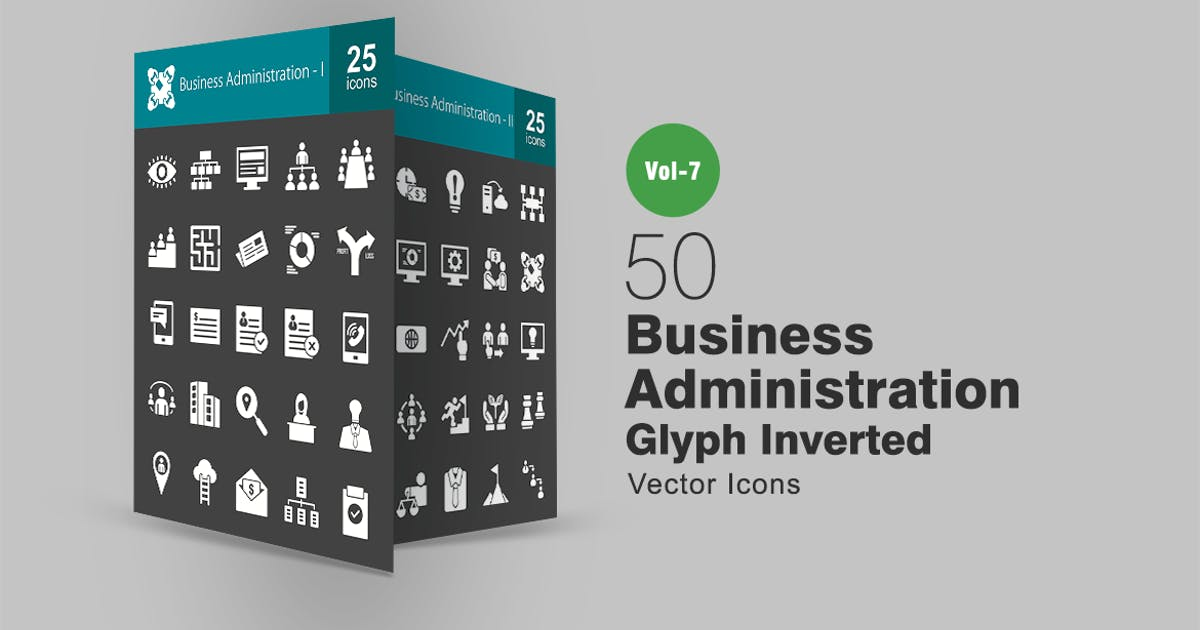 Download 50 Business Administration Glyph Inverted Icons by IconBunny