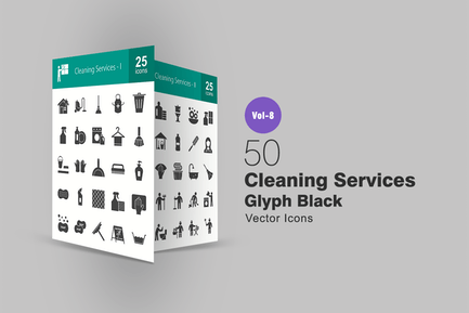 50 Cleaning Services Glyph Icons