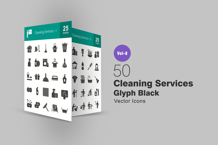 Thumbnail for 50 Cleaning Services Glyph Icons