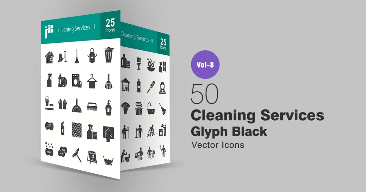 50 Cleaning Services Glyph Icons by IconBunny