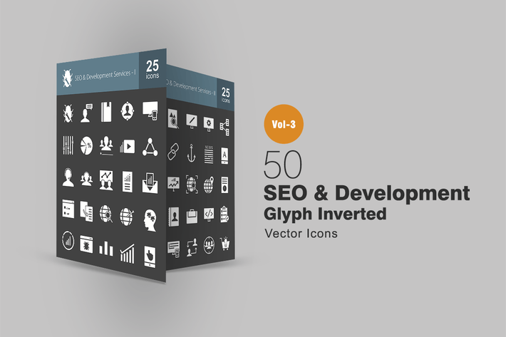 Thumbnail for 50 SEO & Development Glyph Inverted Icons