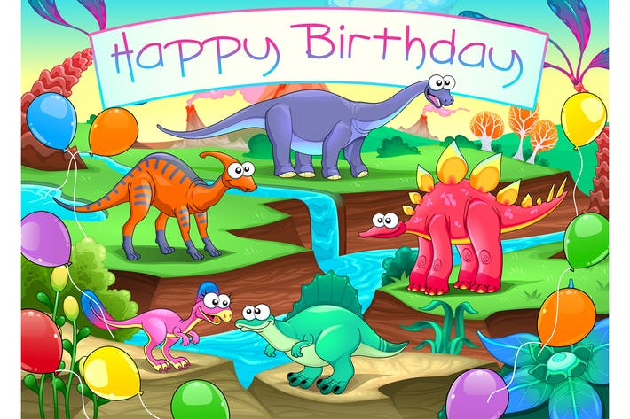 Thumbnail for Happy Birthday Card with Dinosaurs