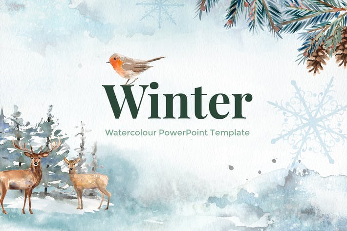 Thumbnail for Winter - Watercolour PowerPoint Template