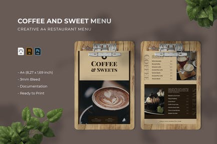 Coffee and Sweets   Restaurant Menu
