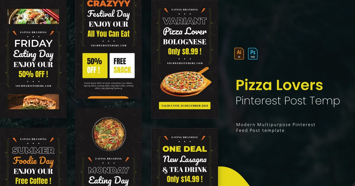 Download Pizza Lover   Pinterest Post Template by Vunira