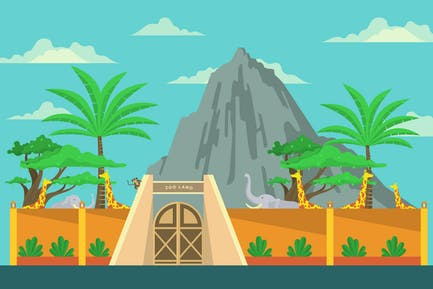 Zoo Land - Landscape & Building Illustration