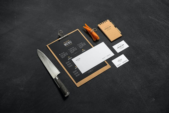 Cover Image For Restaurant & Bar Stationery Branding Mockup
